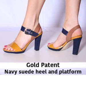 AK Gold Patent & Navy Suede 4.5in heels.